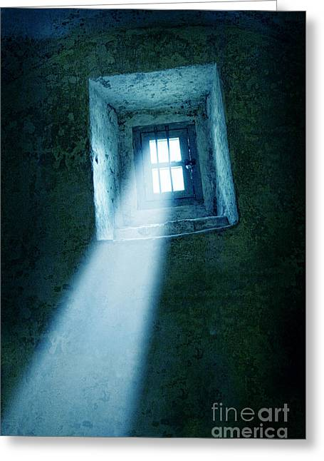 Streaming Light Greeting Cards - Locked Window in Old Building Greeting Card by Jill Battaglia