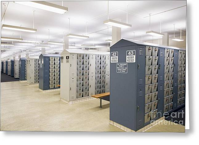 Valuable Photographs Greeting Cards - Locker Room Greeting Card by Andersen Ross
