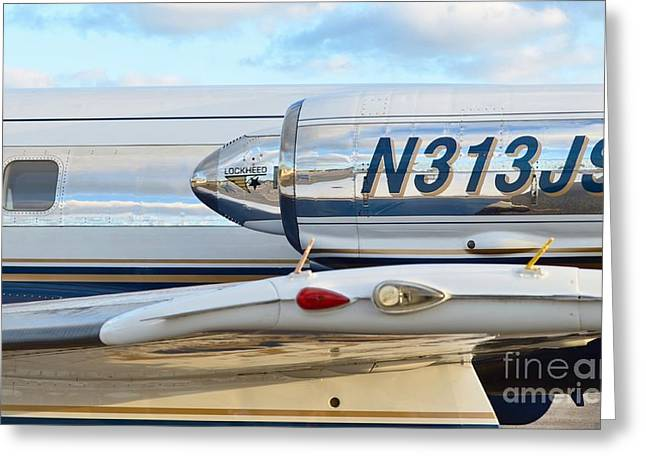 Best Sellers -  - Fixed Wing Multi Engine Greeting Cards - Lockheed Jet Star Engine Greeting Card by Lynda Dawson-Youngclaus