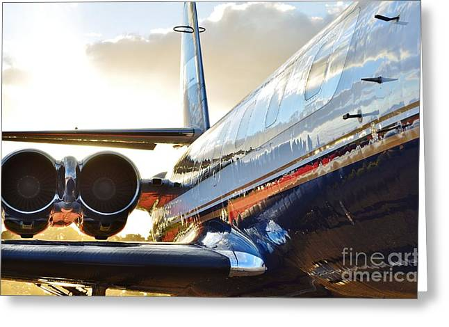 Fixed Wing Multi Engine Greeting Cards - Lockheed Jet Star Side View Greeting Card by Lynda Dawson-Youngclaus
