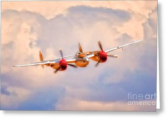 Mccrea Greeting Cards - Lockheed P-38 Lightning Honey Bunny Greeting Card by Gus McCrea