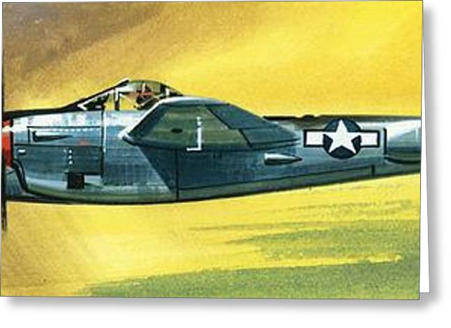 Airplane Greeting Cards - Lockheed P-38J Lightning Greeting Card by Wilf Hardy