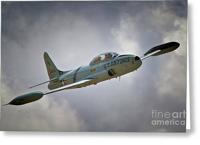 Planes Of Fame Greeting Cards - Lockheed P-80 Shooting Star 2011 Chino Air Show Greeting Card by Gus McCrea