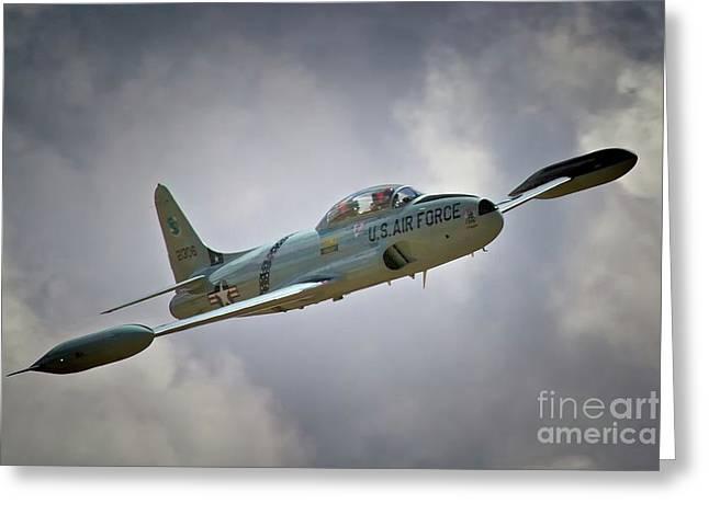 Jet Star Digital Art Greeting Cards - Lockheed P-80 Shooting Star 2011 Chino Air Show Greeting Card by Gus McCrea