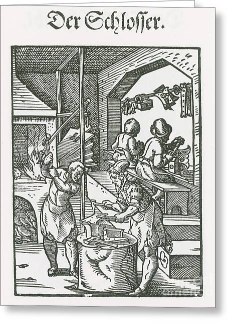 Exact Greeting Cards - Locksmith, Medieval Tradesmen Greeting Card by Science Source