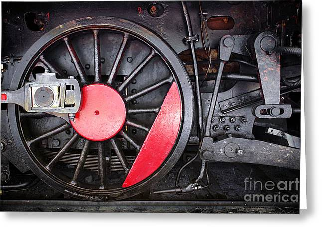 Wagon Wheels Photographs Greeting Cards - Locomotive Wheel Greeting Card by Carlos Caetano