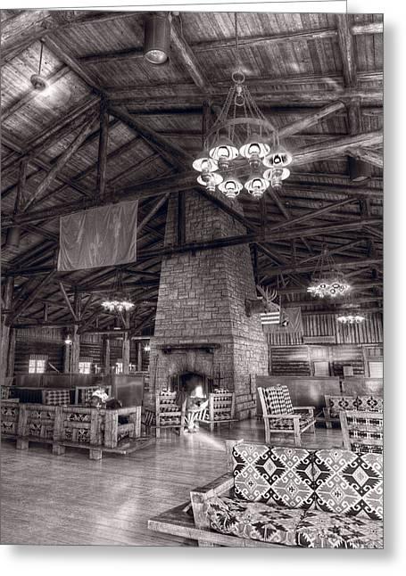 Starved Rock Park Greeting Cards - Lodge Starved Rock State Park Illinois BW Greeting Card by Steve Gadomski