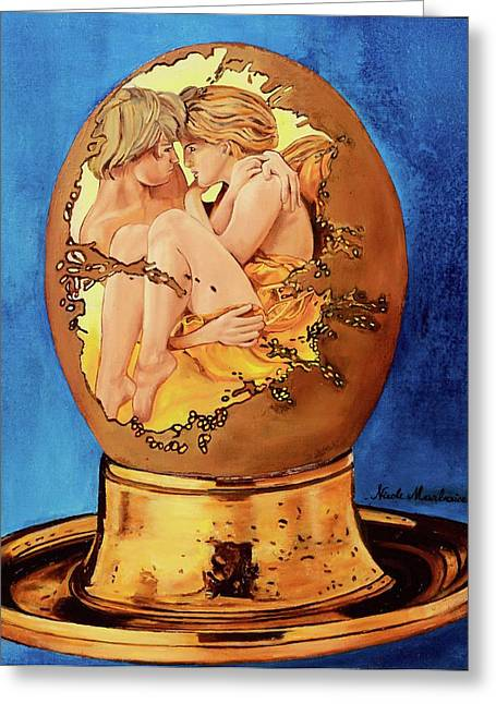 Egg-cup Greeting Cards - LOeuf Greeting Card by Nicole MARBAISE