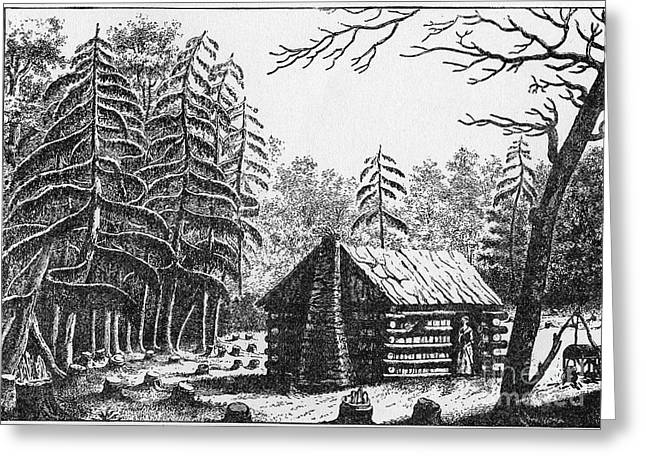 Fir Trees Greeting Cards - Log Cabin, 1826 Greeting Card by Granger