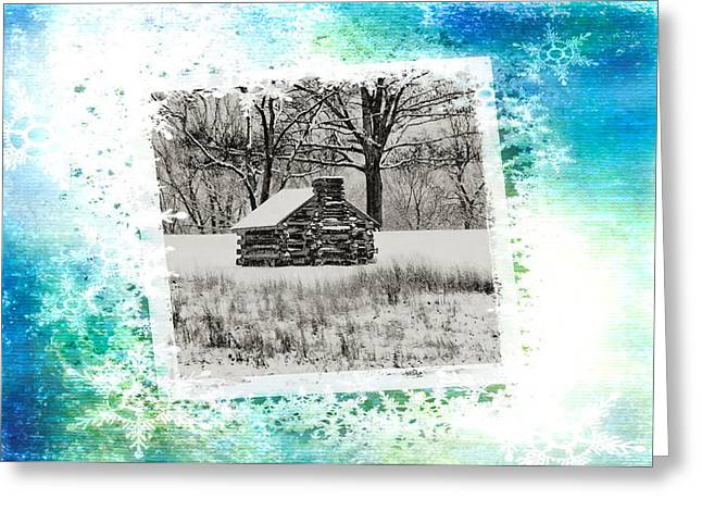 Log Cabins Greeting Cards - Log Cabin Christmas Card Greeting Card by Bill Cannon