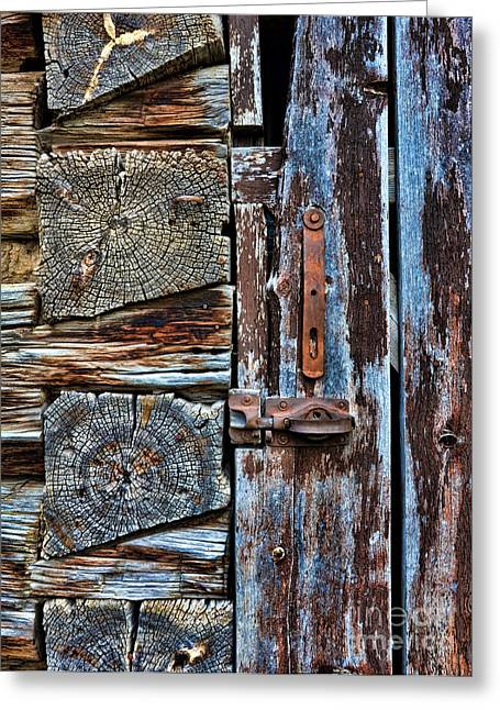 Pioneer Homes Photographs Greeting Cards - Log Cabin Door Greeting Card by Jill Battaglia
