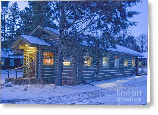 Log cabin library 1 Greeting Card by Jim Wright
