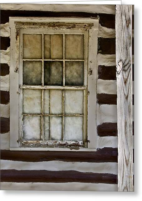 Old Cabins Greeting Cards - Log Cabin Window Greeting Card by Murray Bloom
