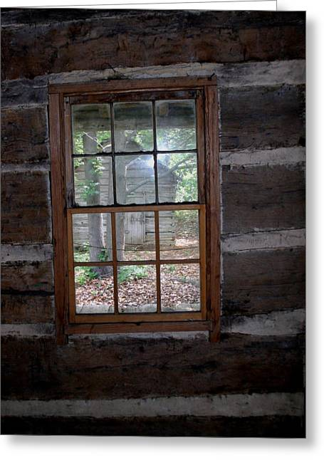 Best Sellers -  - Log Cabin Interiors Greeting Cards - Log Cabin Window Greeting Card by Nina Fosdick