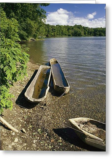 Cooperstown Greeting Cards - Log Canoes On The Banks Of A Recreated Greeting Card by Raymond Gehman