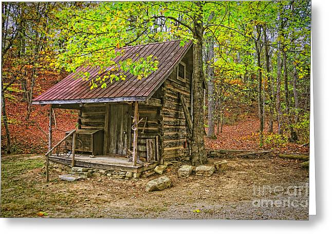 Renfro Greeting Cards - Log Home Renfro Valley KY Greeting Card by Anne Kitzman