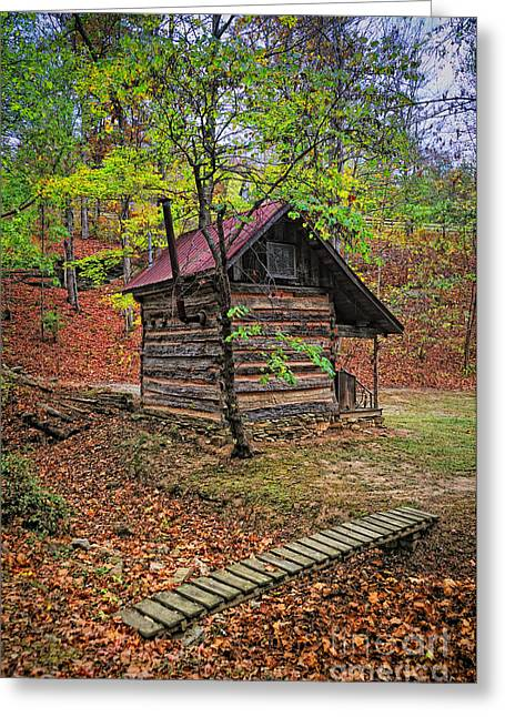 Renfro Greeting Cards - Log Shed Renfro Valley KY Greeting Card by Anne Kitzman