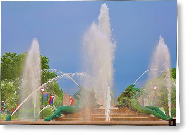 William Penn Digital Art Greeting Cards - Logan Circle Fountain 2 Greeting Card by Bill Cannon