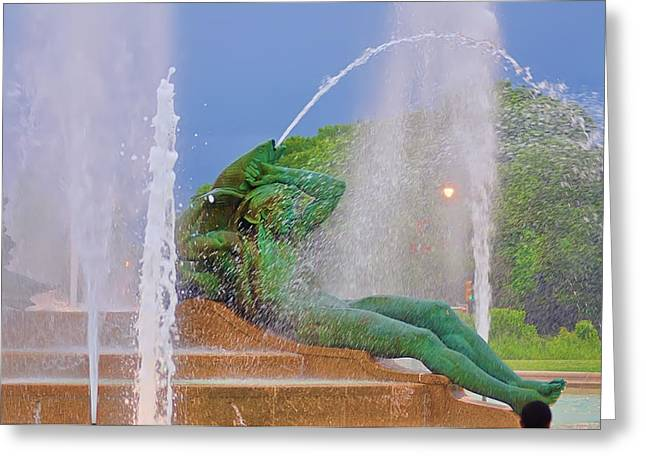 William Penn Digital Art Greeting Cards - Logan Circle Fountain 3 Greeting Card by Bill Cannon