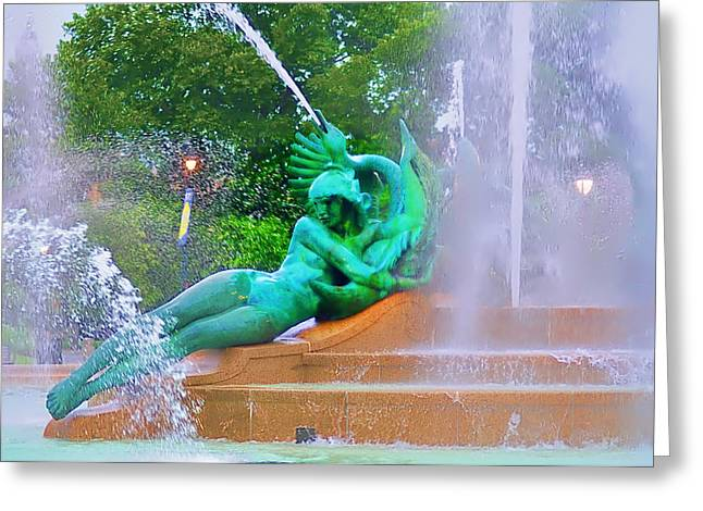 William Penn Digital Art Greeting Cards - Logan Circle Fountain 6 Greeting Card by Bill Cannon