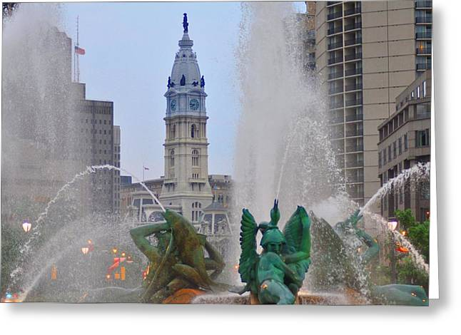 William Penn Digital Art Greeting Cards - Logan Circle Fountain with City Hall in Backround 2 Greeting Card by Bill Cannon