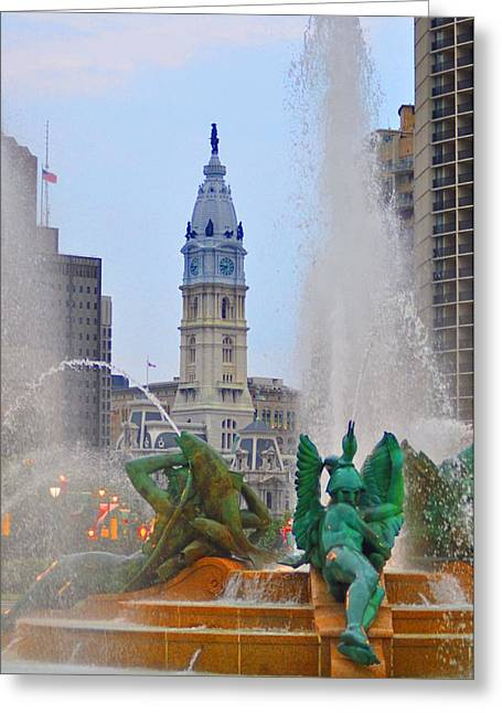 William Penn Digital Art Greeting Cards - Logan Circle Fountain with City Hall in Backround 3 Greeting Card by Bill Cannon