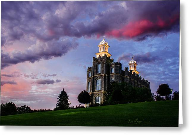 Lds Temples Greeting Cards - Logan Temple Heavens Light Greeting Card by La Rae  Roberts