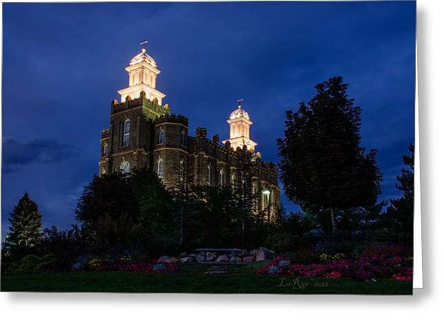 Lds Temples Greeting Cards - Logan Temple Twilight Greeting Card by La Rae  Roberts
