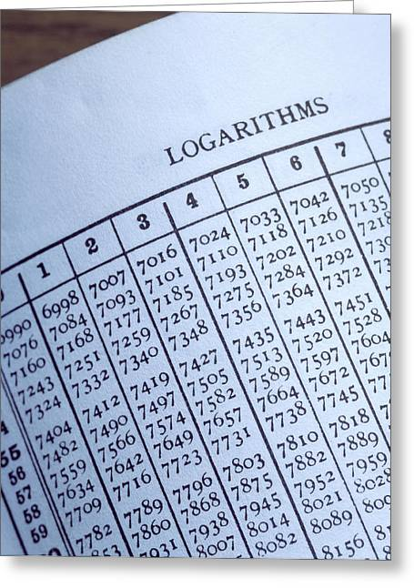 Mathematical Method Greeting Cards - Logarithm Table Greeting Card by Sheila Terry