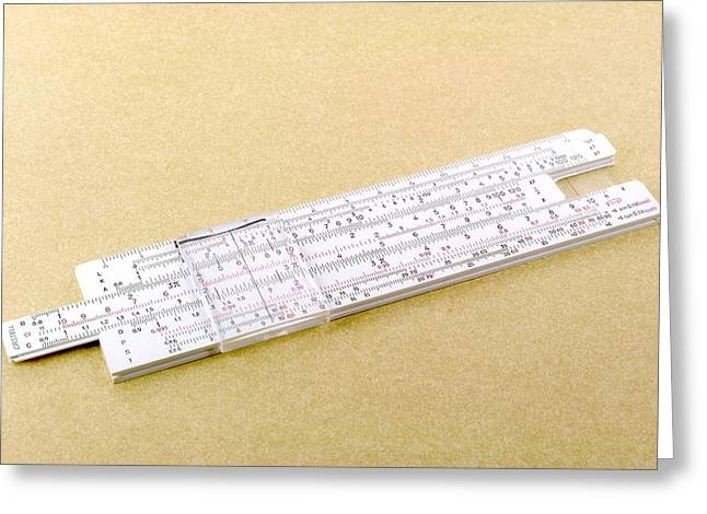 Calculate Greeting Cards - Logarithmic Slide Rule Greeting Card by Friedrich Saurer