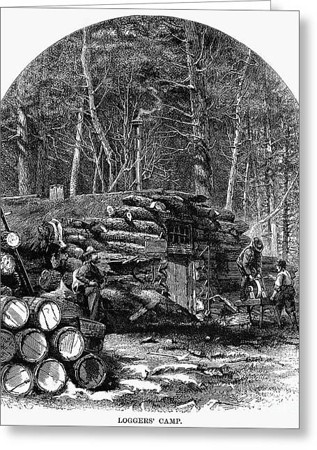 Loggers Camp, 1868 Greeting Card by Granger