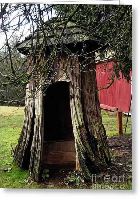 Copyrighted Greeting Cards - Loggers Outhouse Greeting Card by Clayton Bruster