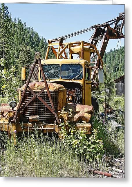 Logging Tractor Greeting Cards - Logging Truck - Burke Idaho Ghost Town Greeting Card by Daniel Hagerman