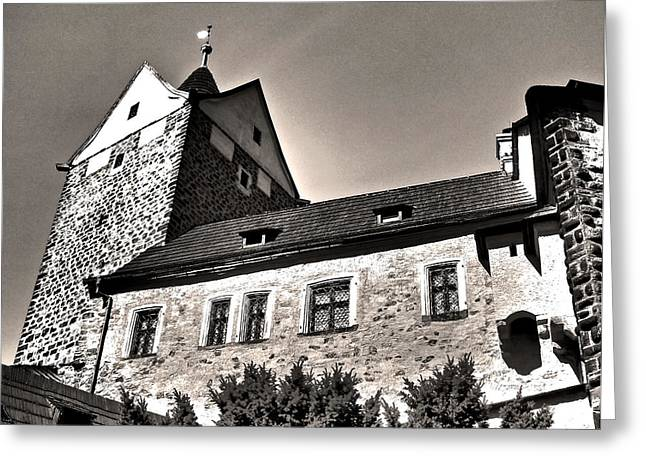 Himmel Greeting Cards - Loket Castle Tower - Czech Republic Greeting Card by Juergen Weiss