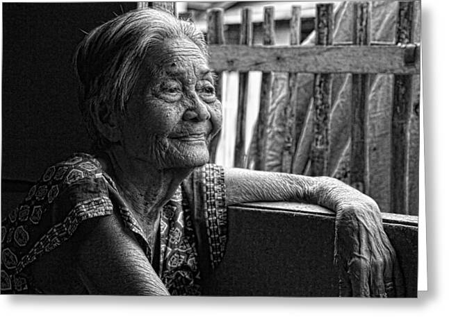 Filipino Arts Greeting Cards - Lola Laraine Favorite Spot Image 28 in Black and White Greeting Card by James BO  Insogna