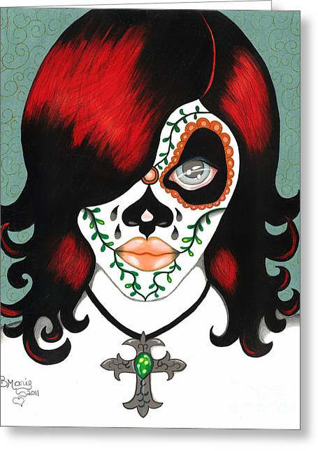 Mexican Drawings Greeting Cards - Lolita Greeting Card by B Marie