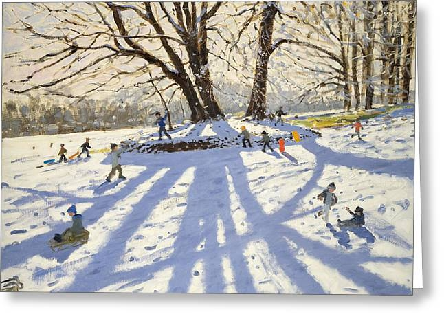 Children Playing Greeting Cards - Lomberdale Hall Derbyshire  Greeting Card by Andrew Macara