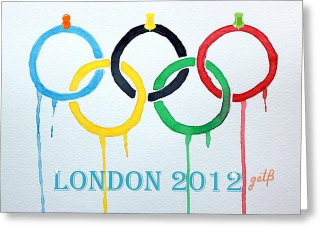 Olympics Mixed Media Greeting Cards - London 2012 Summer Olympics Logo watercolor Greeting Card by Georgeta  Blanaru