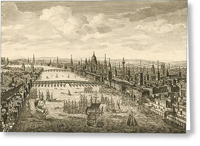 Black Greeting Cards - London And The Thames, 18th Century Greeting Card by Miriam And Ira D. Wallach Division Of Art, Prints And Photographsnew York Public Library