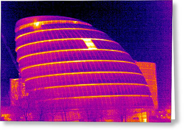 City Hall Greeting Cards - London Assembly Building, Uk, Thermogram Greeting Card by Tony Mcconnell