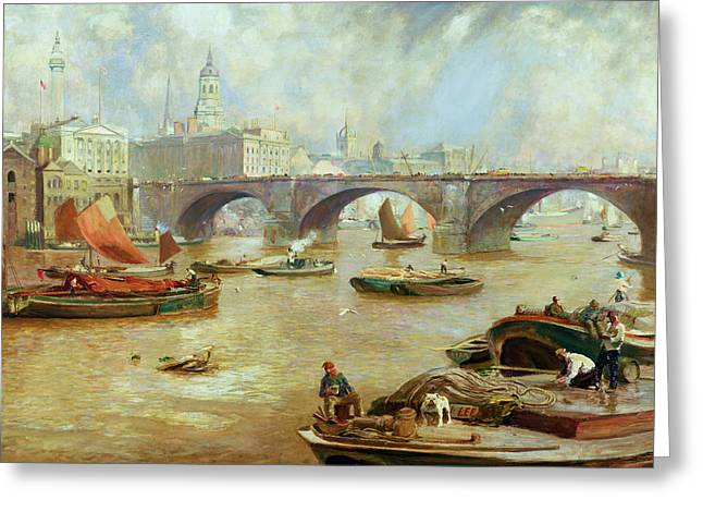 River Thames Greeting Cards - London Bridge from Bankside Greeting Card by Sir David Murray
