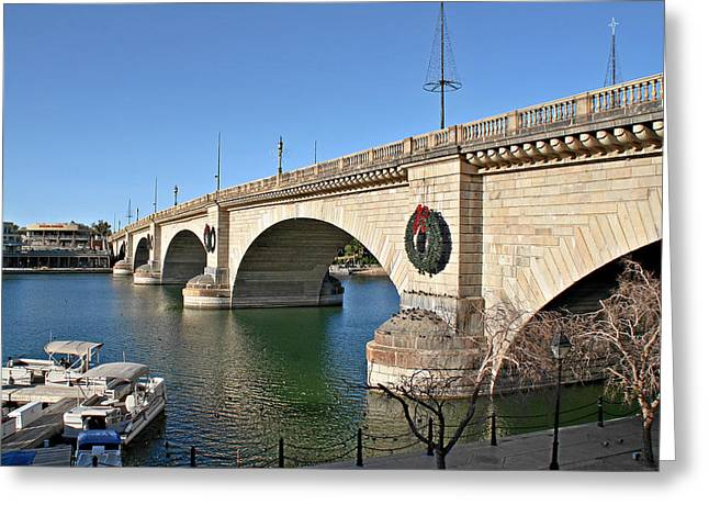 Theme Park Greeting Cards - London Bridge Lake Havasu City - The Worlds Largest Antique Greeting Card by Christine Till