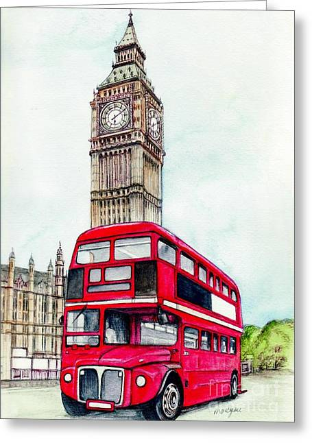 Scenic Mixed Media Greeting Cards - London Bus and Big Ben Greeting Card by Morgan Fitzsimons