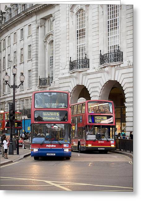 Vehicle Of Life Greeting Cards - London Buses Passing The Alliance Life Greeting Card by Justin Guariglia