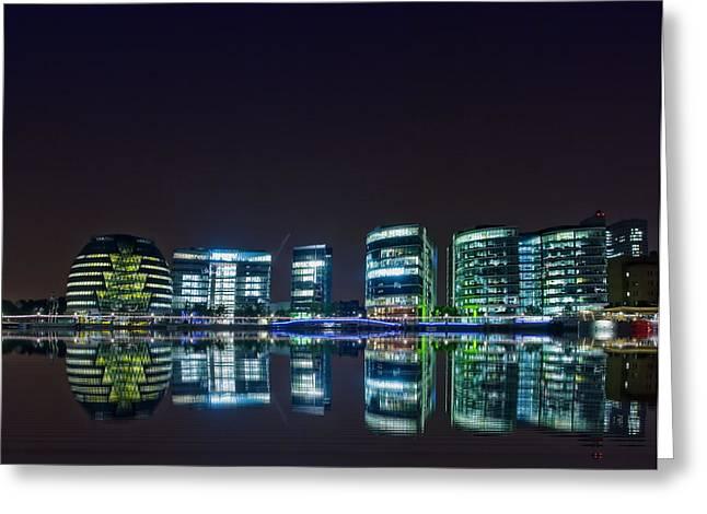 London by Night Greeting Card by Jaroslaw Grudzinski