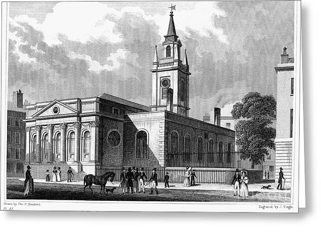 Saint Christopher Photographs Greeting Cards - LONDON: CHURCH, c1830 Greeting Card by Granger