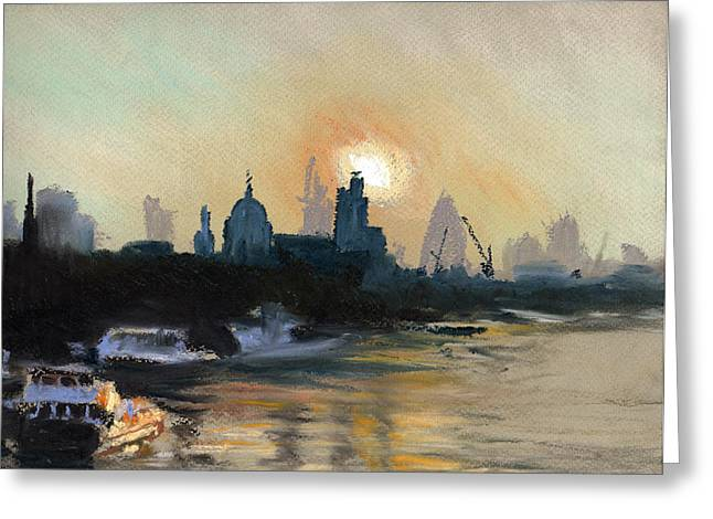 London Pastels Greeting Cards - London City Dawn 1 Greeting Card by Paul Mitchell