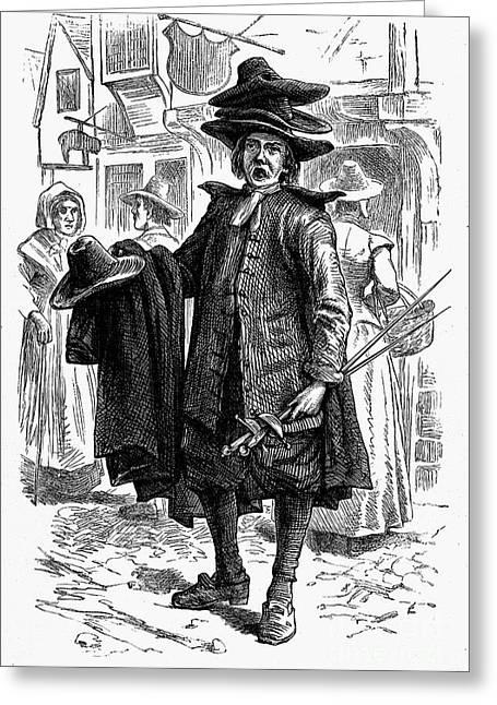 Peddler Greeting Cards - London: Clothes Peddler Greeting Card by Granger