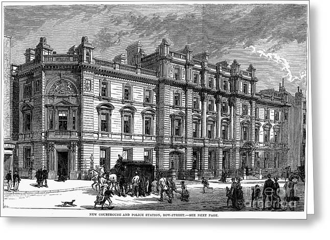 Paddy Wagon Greeting Cards - London: Courthouse, 1880 Greeting Card by Granger