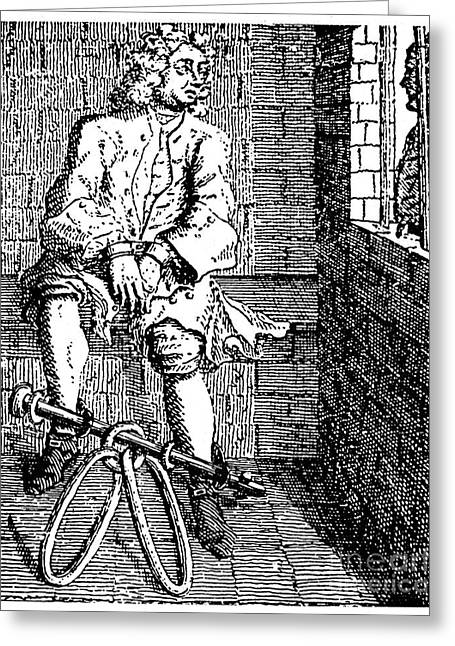 Fetters Greeting Cards - LONDON: DEBTORS PRISON. /nA debtor in fetters at the Marshalsea Prison, London, England. Line engraving, 18th century Greeting Card by Granger